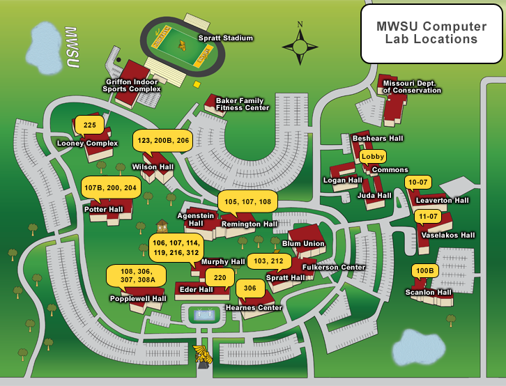Map of computer labs on campus